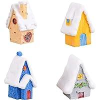 Amosfun 4 Piezas Figuras de miniaturas de Navidad