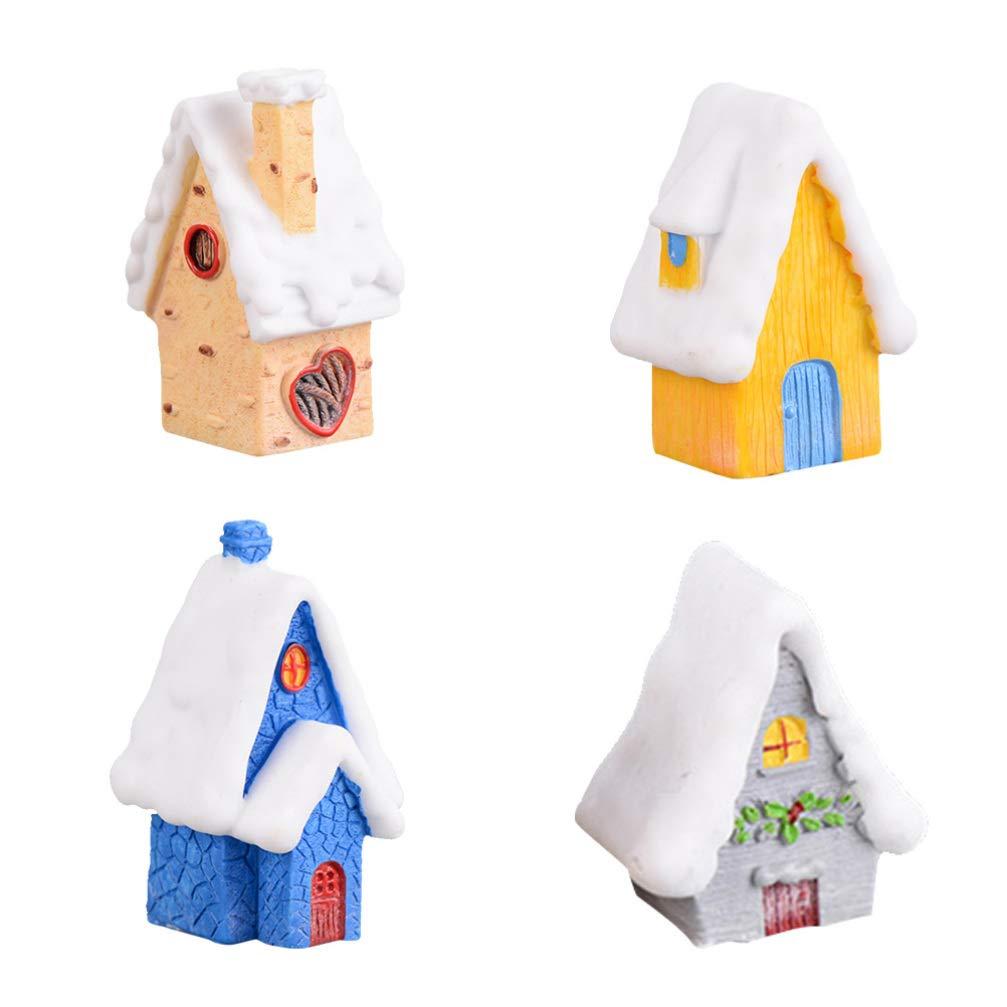 Amosfun 4PCS Christmas Miniatures Figurines Mini Snow House Decorative Christmas Small DIY Toys Crafts Resin Ornament Micro Landscape