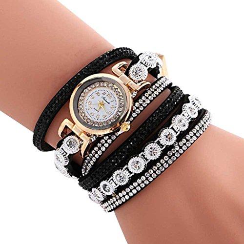 Oksale Women Fashion Winding Bracelet Metal Decorative Circle Quartz Watch (Black)
