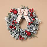 24in LED Battery Operated Flocked Pine Wreath + Red Ball Ornaments (Small Image)