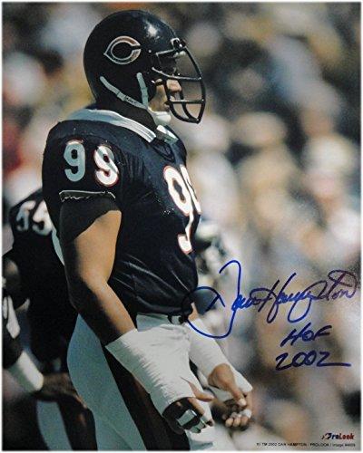 (Dan Hampton Hand Signed Autographed 16x20 Photo Chicago Bears #99 Hof 2002 Blue)