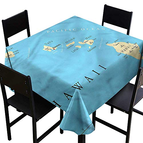 haommhome Waterproof Tablecloth Hawaiian Honolulu The Captal City and Durable W54 xL54 Washable Polyester - Great for Buffet Table, Parties, Holiday Dinner, Wedding & More ()