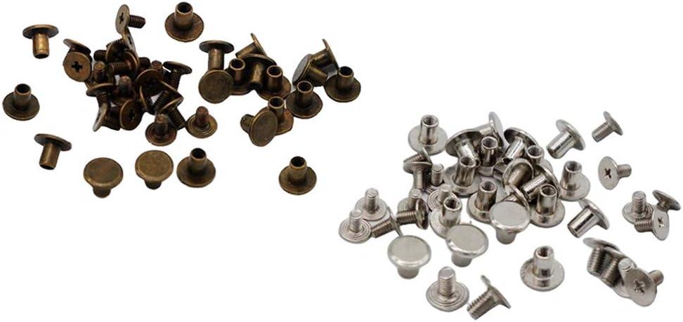 F Fityle 40pcs Schrauben Nagel Rivet Button f/ür Scrapbooking Leder 9mm Kopf Nieten zum Schrauben Buchschrauben Chicagoschrauben