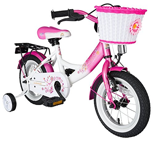 BIKESTAR Original Premium Safety Sport Kids Bike Bicycle with sidestand and accessories for age 3 year old children | 12 Inch Classic Edition for girls | Flamingo Pink & Diamond White