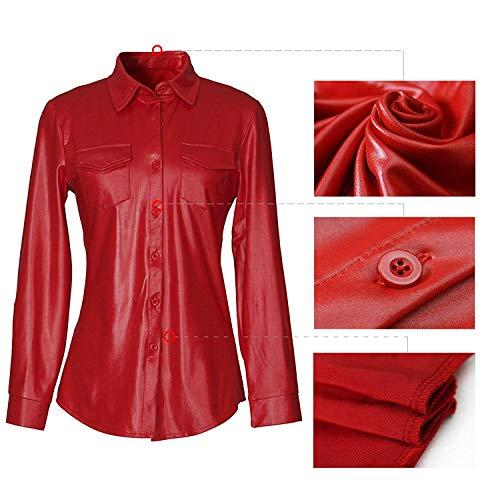 Fashion Boutonnage Elgante Rouge Poches Cuir Chemise Manches Printemps Simple Haut Automne Revers Chemisier Manche Femme Blouse Chemisiers breal Synthtique Long Uni R8v6qx6wg