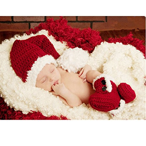 Fashion Cute Newborn Boy Girl Baby Costume Outfits Photography Props Christmas Hat Boots (Cute Baby Costume)