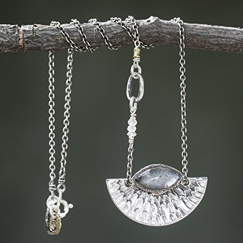 Marquis cabochon labradorite with silver fan pendant necklace and labradorite beads secondary on oxidized sterling silver - Labradorite Marquis