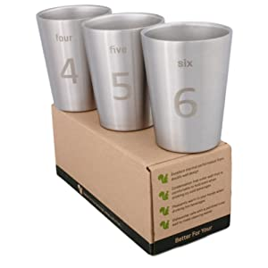Better For Your - Small Stainless Steel Double Wall Cups, 8oz (250ml) - Set of 3 - Tumblers with Numbers and Words 4-5-6