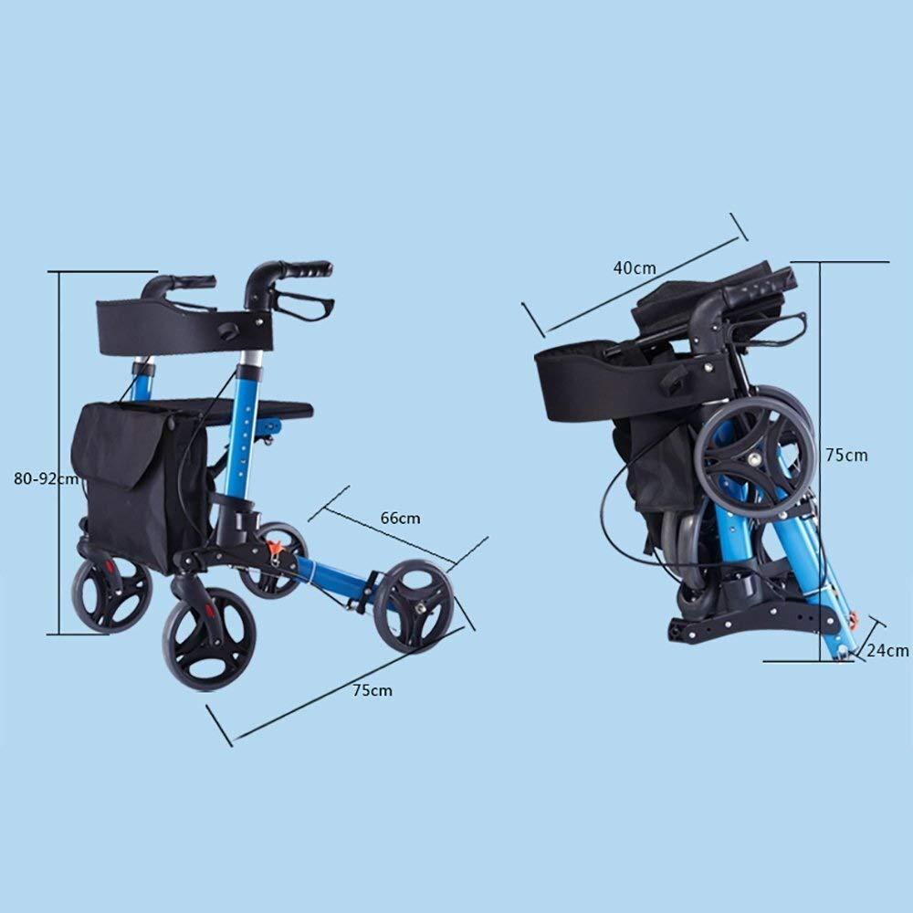 Rollator Walker Under Seat Storage Basket Height Adjustable Roller Double Safety Brake Auxiliary Walking Safety Walker (Color : Blue) by YL WALKER (Image #7)