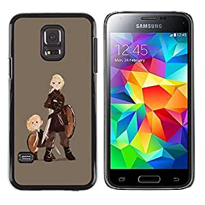 Shell-Star Arte & diseño plástico duro Fundas Cover Cubre Hard Case Cover para Samsung Galaxy S5 Mini / Samsung Galaxy S5 Mini Duos / SM-G800 !!!NOT S5 REGULAR! ( Vikings Shield Warrior Woman Art Boy Blonde )