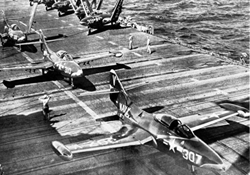 (Home Comforts Laminated Poster U.S. Navy Grumman F9F-5 Panthers from Fighter Squadron VF-113 Stingers Aboard The Aircraft Carrier Vivid Imagery Poster Print 24 x 36)