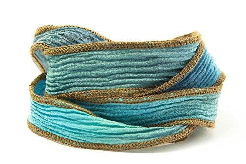 Ocean Blues Handmade Silk Ribbon - Mixed Light and Dark Blue Blend with Brown Edges