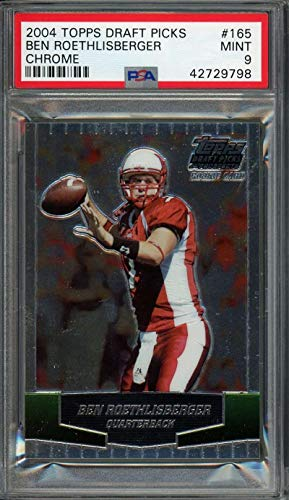 2004 topps draft picks chrome #165 BEN ROETHLISBERGER steelers rookie card PSA 9 Graded Card ()