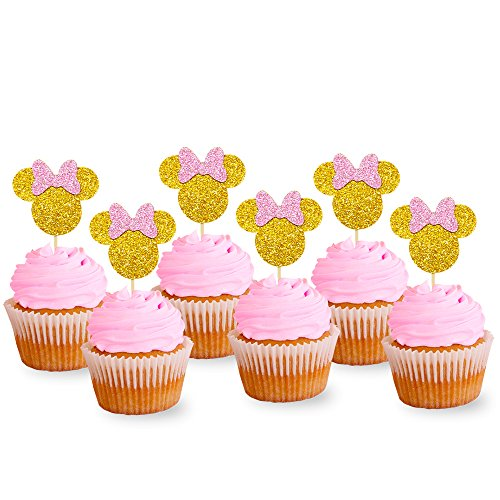 Pink And Gold Glitter Minnie Inspired Cupcake Toppers Girls Birthday Party Decorations Pack of 24 -
