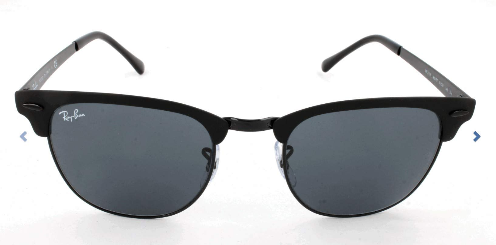 Ray-Ban RB3716 Clubmaster Metal Square Sunglasses, Black On Matte Black/Blue, 51 mm