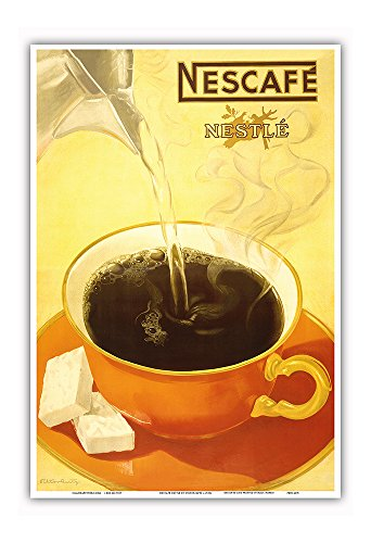 Pacifica Island Art Nescafé Nestlé - Instant Powered Coffee - Vintage Advertising Poster by Viktor Rutz c.1930s - Master Art Print - 13in x 19in