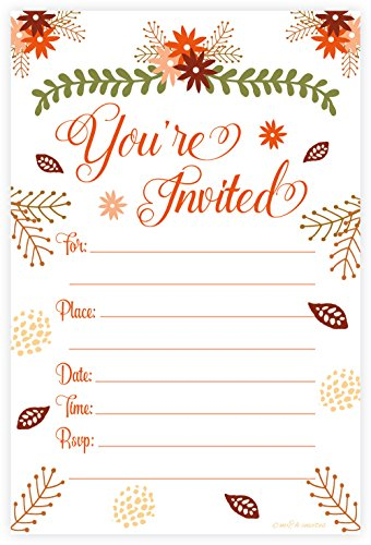 Leaves Fall Invitation Wedding (Fall Theme Fill In Invitations - Wedding, Bridal Shower, Baby Shower, Engagement Party, Birthday - (20 Count) With Envelopes)
