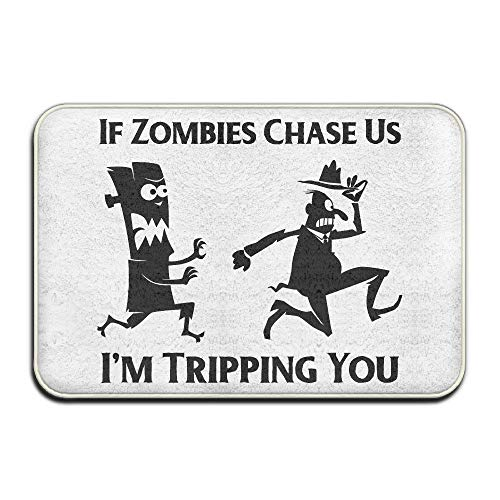 SPXUBZ If Zombies Chase Us I'm Tripping You Funny Non Slip Entrance Rug Outdoor/Indoor Durable and Waterproof Machine Washable Door Mat Size:18x30 inch -