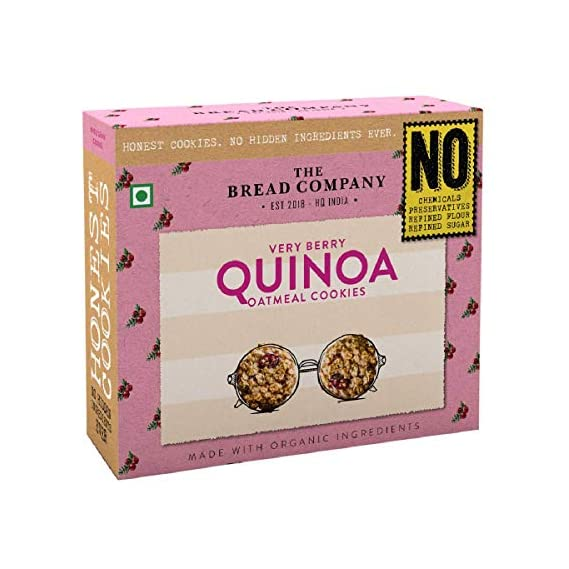 The Bread Company Natural & Organic Chemical Free Tasty Very Berry Quinoa Oatmeal Cookies| Biscuit