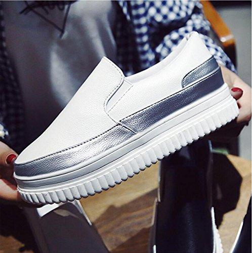 Solo Espesa Salvaje Lazy Femeninos De Aumentó De Zapatos Versión De Bones Bizcocho Escalón 40 Nuevo Mujer Zapatos Zapatos Blanco Otoño La KHSKX De Coreana FWqTSSA