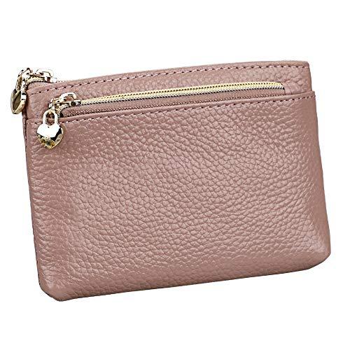 Women's Genuine Leather Coin Purse Zipper Pocket Size Pouch Change Wallet, Dark Pink