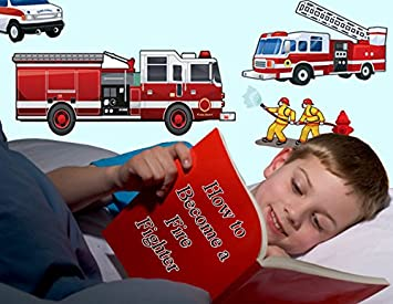 Amazon.com: Create-A-Mural : Fantastic Fire Truck Wall Decals ...