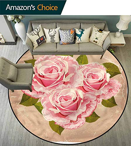 - RUGSMAT Rose Round Rug,Pink Bouquet of Flowers Bedroom Home Shaggy Carpet Round-51