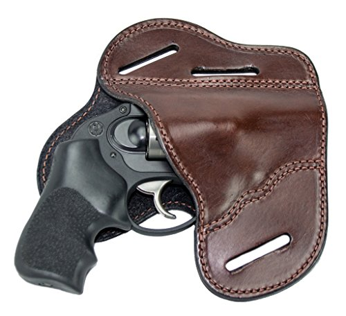 The Ultimate Leather Gun Holster – 3 Slot Pancake Style Belt Holster -Handmade in the USA! – Fits J Frame / Revolver Style Handguns – Brown Right Hand…