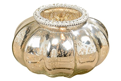 - WHW Whole House Worlds Grand Hotel Chubby Wind Light, Faux Rhinestone Trim, Ribbed Gourd Shape, Made by Hand, Artisanal Hand Blown Glass, Crackle Finish, Silver Gilt, Golden Interior, 4 3/4 D Inches