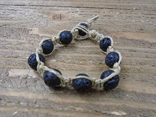 BEACH HEMP JEWELRY Black Lava Bead Hemp Bracelet Handmade In USA