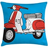 Funky Throw Pillow Cushion Cover by Lunarable, Cute Scooter Motorcycle Retro Vintage Vespa Soho Wheels Rome Graphic Print, Decorative Square Accent Pillow Case, 26 X 26 Inches, Blue Vermilion White
