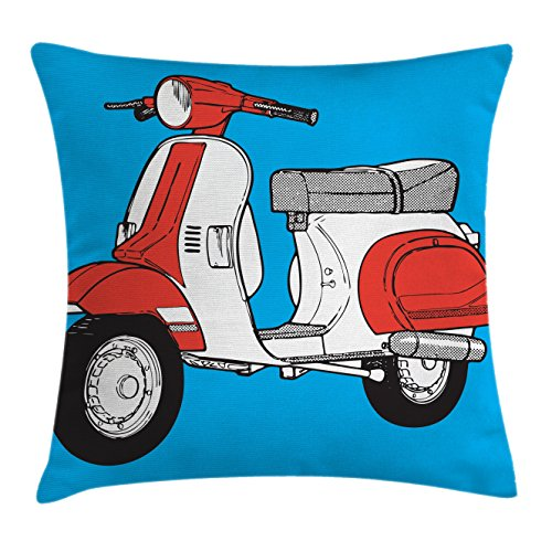 Ambesonne Funky Throw Pillow Cushion Cover, Cute Scooter Motorcycle Retro Vintage Vespa Soho Wheels Rome Graphic Print, Decorative Square Accent Pillow Case, 16 X 16 Inches, Blue Vermilion White (Soho Multi Print)