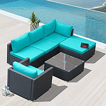 Modenzi L6D U Outdoor Sectional Patio Furniture Espresso Brown Wicker Sofa  Set (Turquoise)
