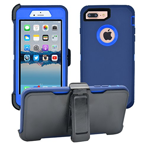 iPhone 7 Plus / 8 Plus Cover | 2-in-1 Screen Protector & Holster Case | Full Body, Military Grade Edge-to-Edge Protection with carrying belt clip, Navy Blue / Blue