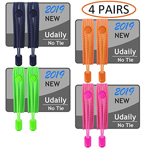 Udaily 4 Pairs No Tie Shoelaces for Kids and Adults, Elastic Shoe Laces for Sneaker