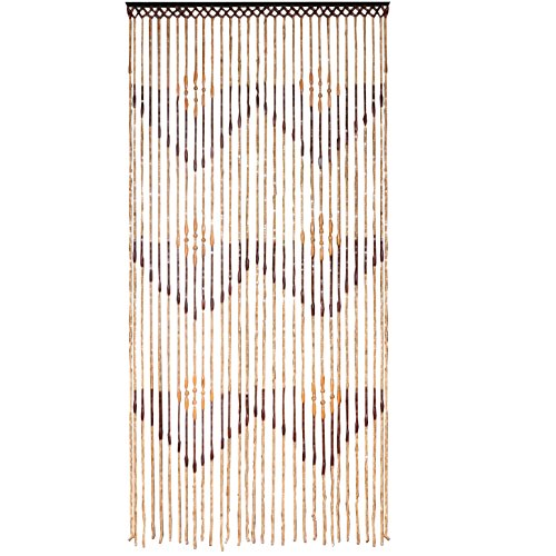 JVL Tuscany Hanging Waves Wooden Beaded Door Curtain