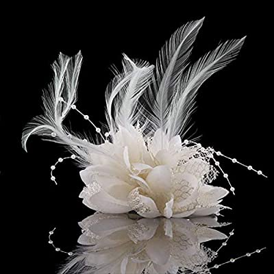 Potelin Premium Quality Bridal Flower Feather Bead Hair Clips Lady Gift Fascinator Hairband Wedding Brooch Pin