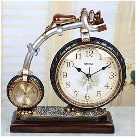 KUQIQI ヨーロッパのクリエイティブ時計レトロ自転車アート時計スイープサイレントミュート時計ファッション振り子時計座って白、ブロンズ (Color : ブラック)