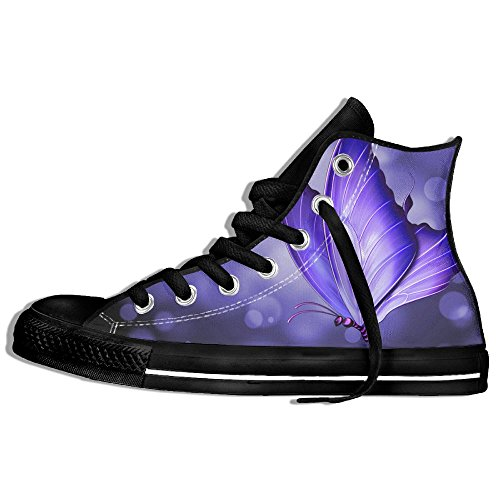Purple Butterfly Design High Top Classic Casual Canvas Fashion Shoes Sneakers For Women & Men by Coallw