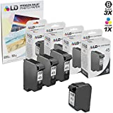 HP 45 & HP 23 Remanufactured Combo Set - 3 Black HP 45 (51645A) and 1 Tri-Color HP 23 (C1283D) + Free 20 Pack of LD Brand 4x6 Photo Paper