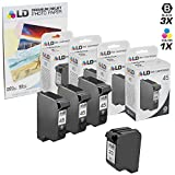 LD Remanufactured Replacement Ink for HP 45 & HP 23 Combo Set - 3 Black HP 45 (51645A) and 1 Tri-Color HP 23 (C1283D)