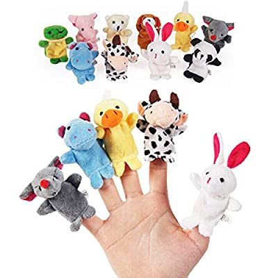 10PCS Cute Cartoon Biological Animal Finger Puppet Plush Toys Child Baby Favor Dolls Boys Girls Finger Puppets: Kitchen & Dining