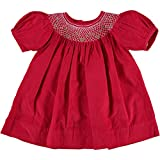 Red Holiday Short Sleeve Bishop Dress w/Diamond Smocking (9 Months)