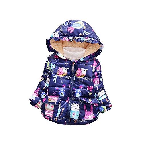 BibiCola Baby Girls Winter Coat Children's Parkas Winter Jackets for Girls Clothing For Girls Jacket Clothes for Baby Girls Kids (24M, blue)