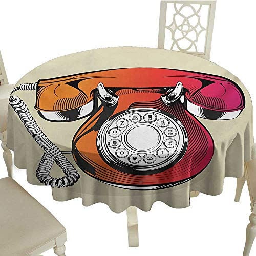 longbuyer Round Tablecloth Red,Illustration of a Classic Retro Telephone with Numbers Vintage Art Design Print,Red and Beige D54,for Party -