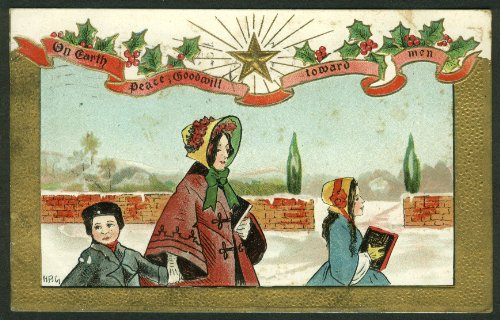 On Earth Peace Goodwill toward men Christmas embossed postcard 1910
