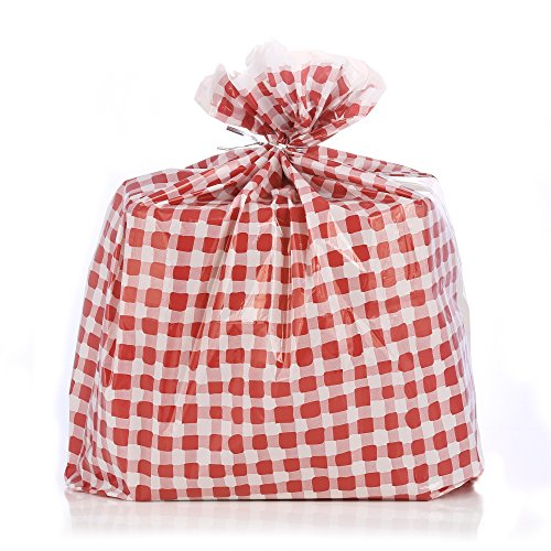 (Reusable Red Gingham Plastic Gift Wrap Bags - Reuse as Pretty Trash Bags - 10 Count - 21