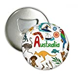 Australia Landscape Animals National Flag Round Bottle Opener Refrigerator Magnet Pins Badge Button Gift 3pcs