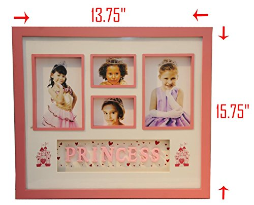 Princess Section Box Photo Frame, Pink Girl Picture Frame, Plastic, Frame Size: 15.75