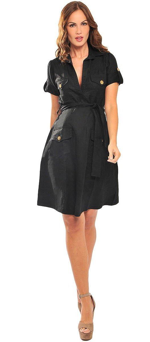 94c2da07000a9 Olian Maternity Women's Patch Pockets Linen Collared Dress at Amazon  Women's Clothing store: